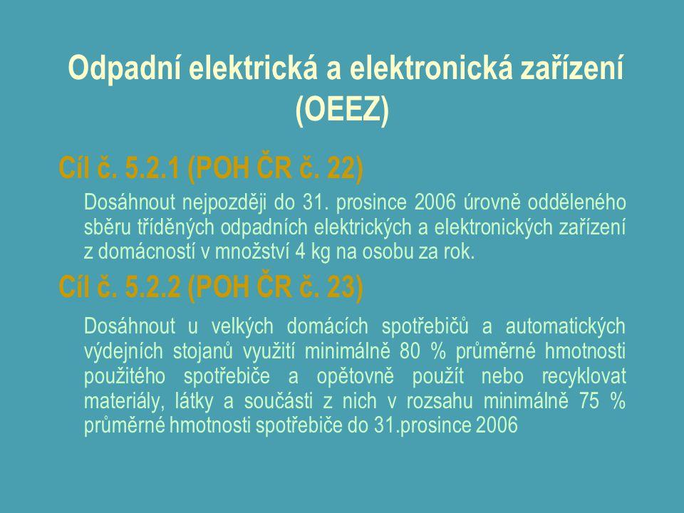 Odpadní elektrická a elektronická zařízení (OEEZ) Cíl č. 5.2.1 (POH ČR č. 22) Dosáhnout nejpozději do 31. prosince 2006 úrovně odděleného sběru tříděn