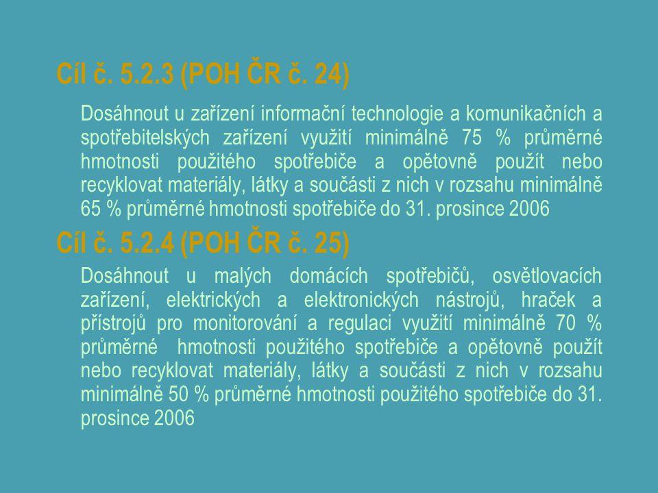 Cíl č. 5.2.3 (POH ČR č. 24) Dosáhnout u zařízení informační technologie a komunikačních a spotřebitelských zařízení využití minimálně 75 % průměrné hm