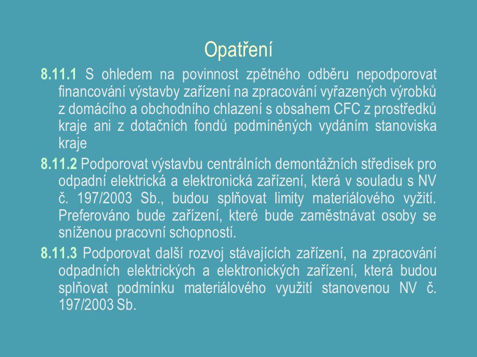 Opatření 8.11.1 S ohledem na povinnost zpětného odběru nepodporovat financování výstavby zařízení na zpracování vyřazených výrobků z domácího a obchodního chlazení s obsahem CFC z prostředků kraje ani z dotačních fondů podmíněných vydáním stanoviska kraje 8.11.2 Podporovat výstavbu centrálních demontážních středisek pro odpadní elektrická a elektronická zařízení, která v souladu s NV č.