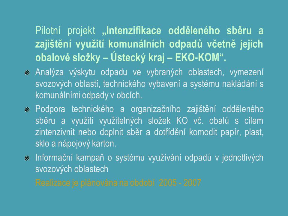 """Pilotní projekt """"Intenzifikace odděleného sběru a zajištění využití komunálních odpadů včetně jejich obalové složky – Ústecký kraj – EKO-KOM ."""
