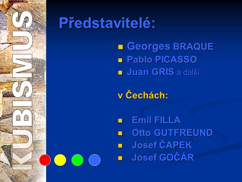 Představitelé:  Georges BRAQUE  Pablo PICASSO  Juan GRIS a další v Čechách:  Emil FILLA  Otto GUTFREUND  Josef ČAPEK  Josef GOČÁR