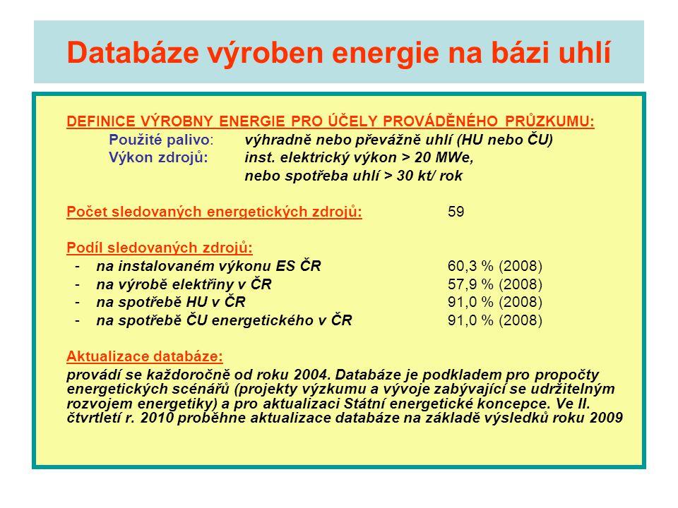 Databáze výroben energie na bázi uhlí DEFINICE VÝROBNY ENERGIE PRO ÚČELY PROVÁDĚNÉHO PRŮZKUMU: Použité palivo: výhradně nebo převážně uhlí (HU nebo ČU