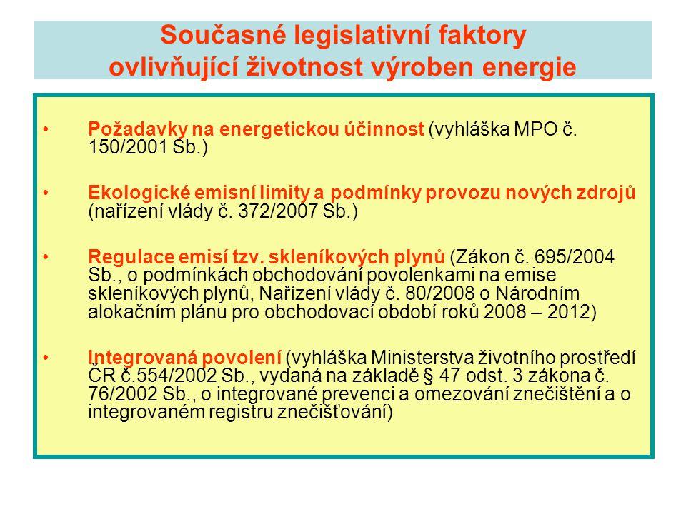 Současné legislativní faktory ovlivňující životnost výroben energie •Požadavky na energetickou účinnost (vyhláška MPO č. 150/2001 Sb.) •Ekologické emi