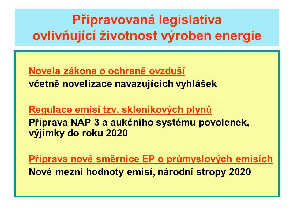 Připravovaná legislativa ovlivňující životnost výroben energie Novela zákona o ochraně ovzduší včetně novelizace navazujících vyhlášek Regulace emisí