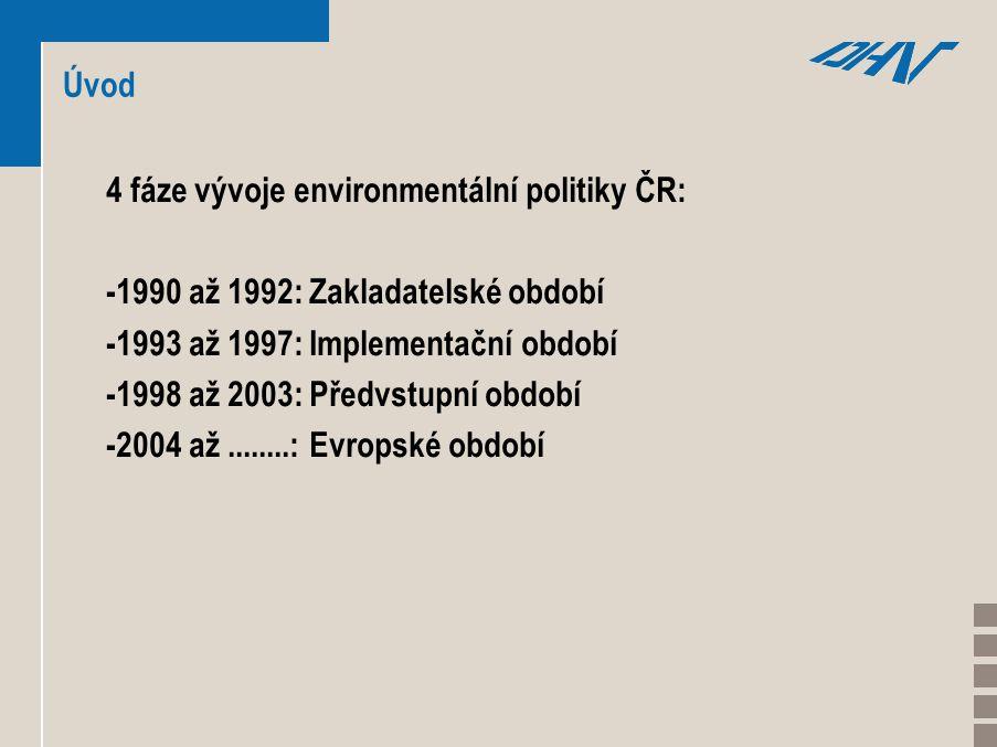 Úvod 4 fáze vývoje environmentální politiky ČR: -1990 až 1992: Zakladatelské období -1993 až 1997: Implementační období -1998 až 2003: Předvstupní období -2004 až........: Evropské období