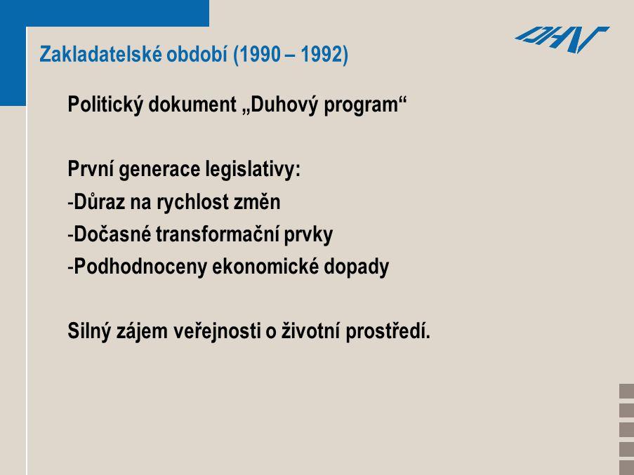 """Zakladatelské období (1990 – 1992) Politický dokument """"Duhový program První generace legislativy: - Důraz na rychlost změn - Dočasné transformační prvky - Podhodnoceny ekonomické dopady Silný zájem veřejnosti o životní prostředí."""