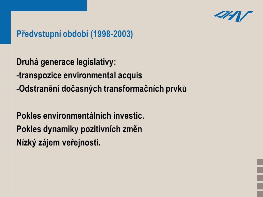 Předvstupní období (1998-2003) Druhá generace legislativy: - transpozice environmental acquis - Odstranění dočasných transformačních prvků Pokles environmentálních investic.