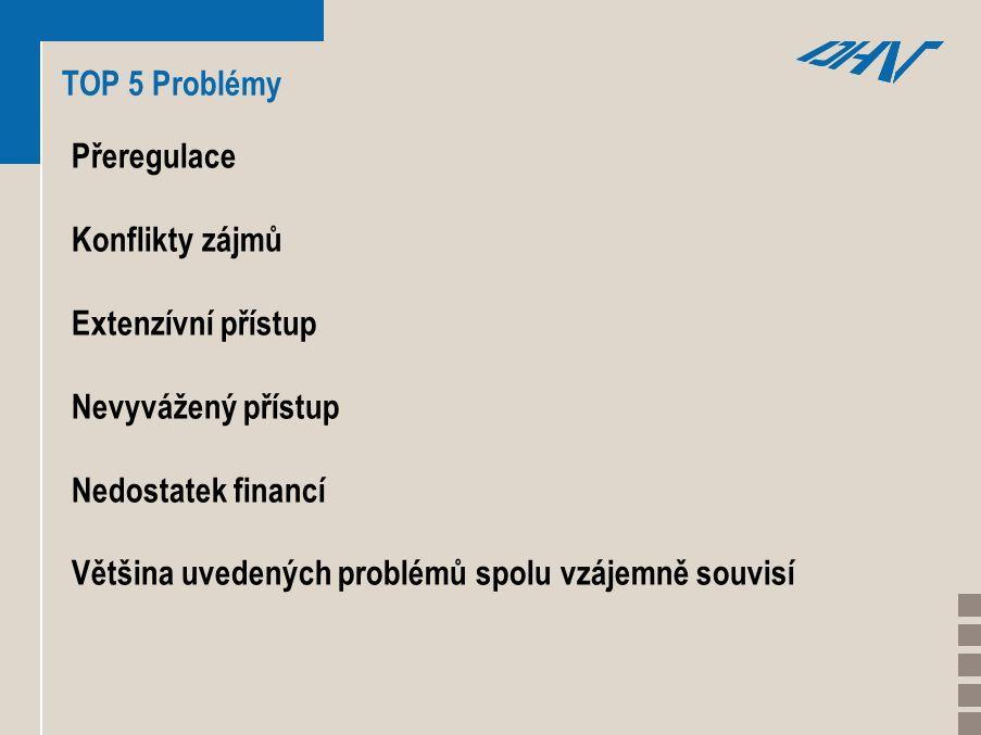 TOP 5 Problémy Přeregulace Konflikty zájmů Extenzívní přístup Nevyvážený přístup Nedostatek financí Většina uvedených problémů spolu vzájemně souvisí