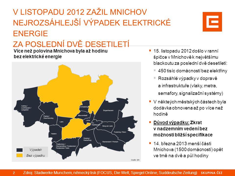 V LISTOPADU 2012 ZAŽIL MNICHOV NEJROZSÁHLEJŠÍ VÝPADEK ELEKTRICKÉ ENERGIE ZA POSLEDNÍ DVĚ DESETILETÍ 2 Více než polovina Mnichova byla až hodinu bez el