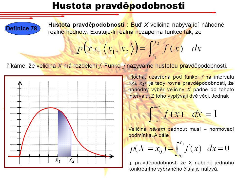 Hustota pravděpodobnosti Definice 78. Hustota pravděpodobnosti : Buď X veličina nabývající náhodné reálné hodnoty. Existuje-li reálná nezáporná funkce