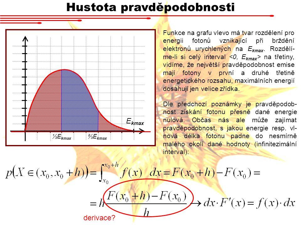 Hustota pravděpodobnosti Funkce na grafu vlevo má tvar rozdělení pro energii fotonů vznikající při brždění elektronů urychlených na E kmax. Rozdělí- m