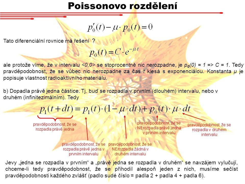 Poissonovo rozdělení Tato diferenciální rovnice má řešení ale protože víme, že v intervalu se stoprocentně nic nerozpadne, je p 0 (0) = 1 => C = 1. Te