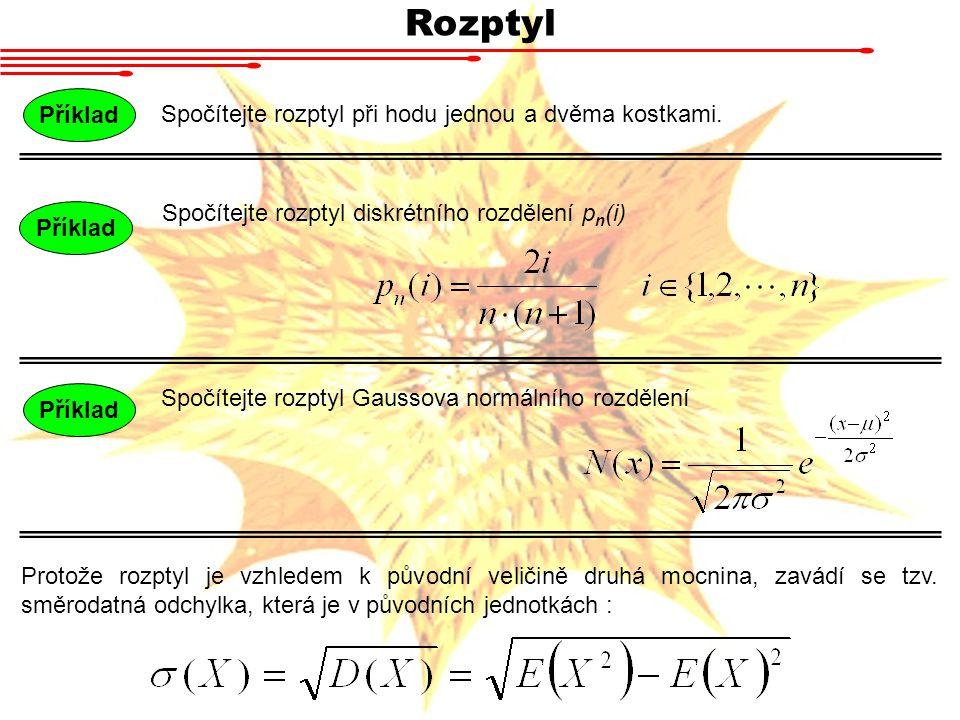 Rozptyl Spočítejte rozptyl při hodu jednou a dvěma kostkami. Příklad Spočítejte rozptyl Gaussova normálního rozdělení Příklad Spočítejte rozptyl diskr