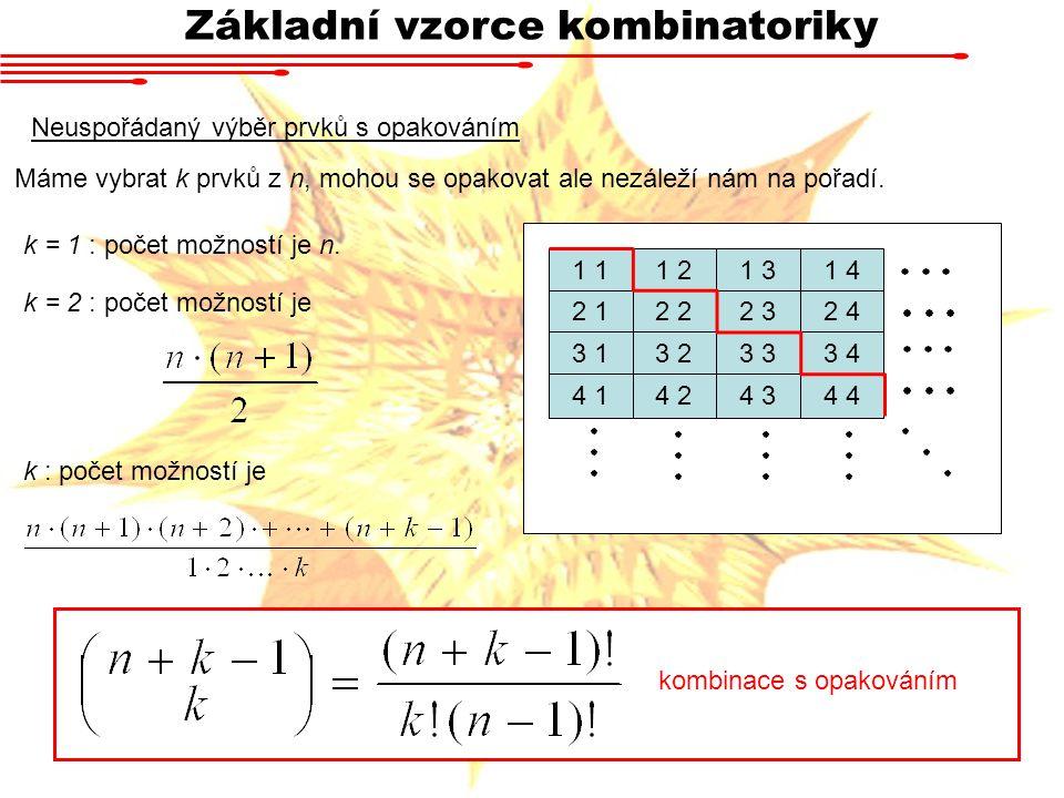 Základní vzorce kombinatoriky Neuspořádaný výběr prvků s opakováním kombinace s opakováním Máme vybrat k prvků z n, mohou se opakovat ale nezáleží nám