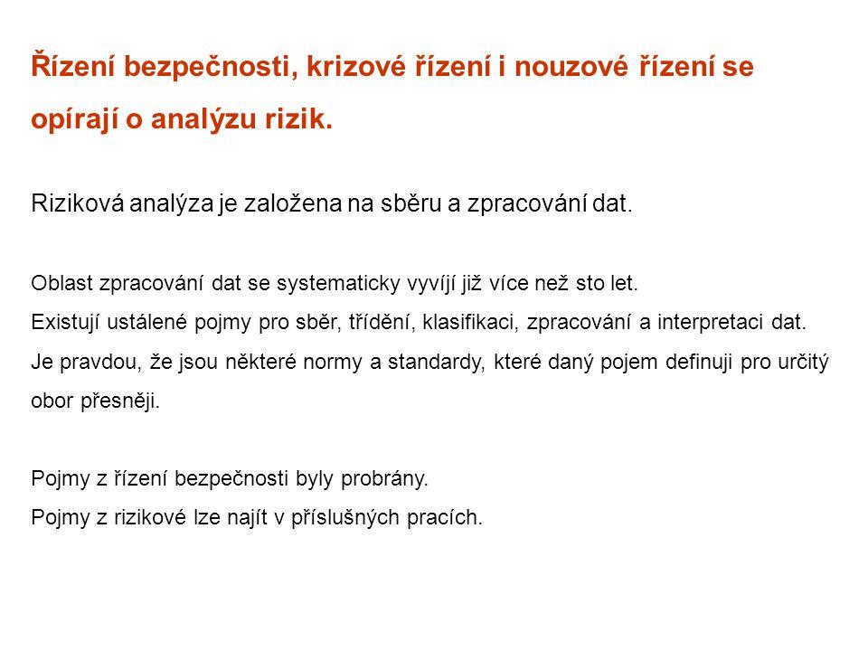 Řízení bezpečnosti, krizové řízení i nouzové řízení se opírají o analýzu rizik. Riziková analýza je založena na sběru a zpracování dat. Oblast zpracov