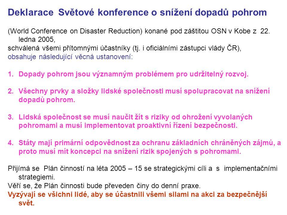 Deklarace Světové konference o snížení dopadů pohrom (World Conference on Disaster Reduction) konané pod záštitou OSN v Kobe z 22. ledna 2005, schvále