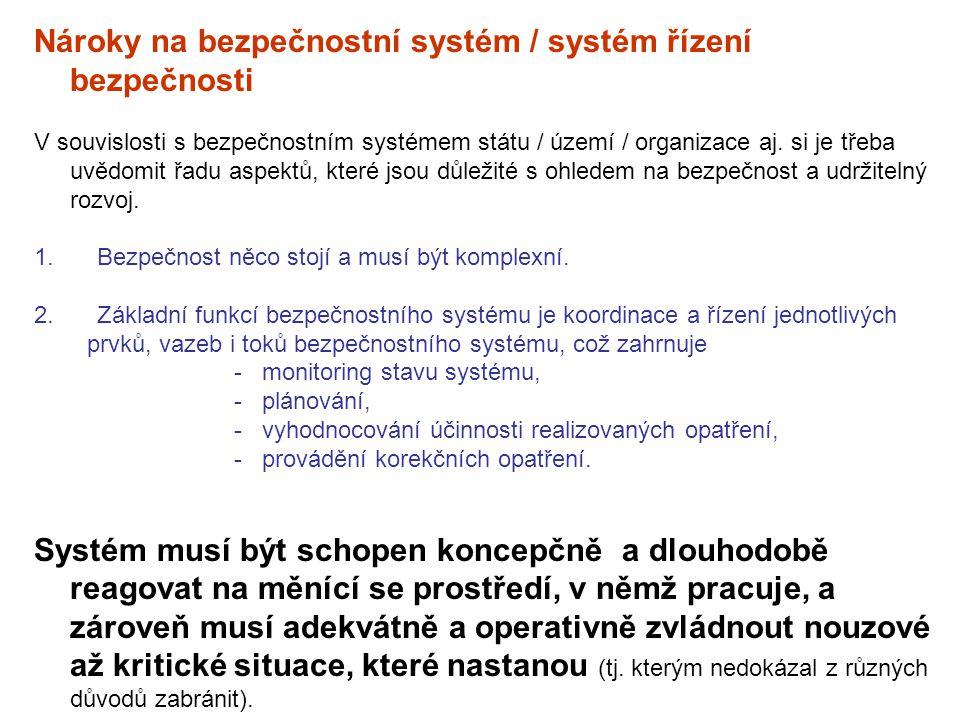 Nároky na bezpečnostní systém / systém řízení bezpečnosti V souvislosti s bezpečnostním systémem státu / území / organizace aj. si je třeba uvědomit ř