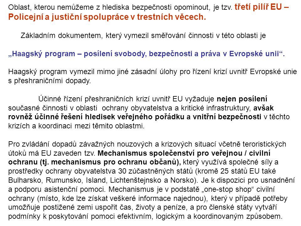 Oblast, kterou nemůžeme z hlediska bezpečnosti opominout, je tzv. třetí pilíř EU – Policejní a justiční spolupráce v trestních věcech. Základním dokum