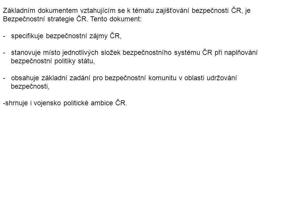 Základním dokumentem vztahujícím se k tématu zajišťování bezpečnosti ČR, je Bezpečnostní strategie ČR. Tento dokument: - specifikuje bezpečnostní zájm