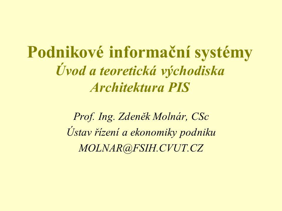 Podnikové informační systémy Úvod a teoretická východiska Architektura PIS Prof. Ing. Zdeněk Molnár, CSc Ústav řízení a ekonomiky podniku MOLNAR@FSIH.