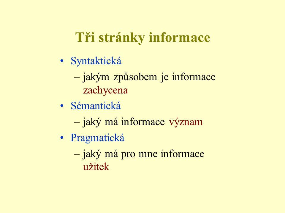 Tři stránky informace •Syntaktická –jakým způsobem je informace zachycena •Sémantická –jaký má informace význam •Pragmatická –jaký má pro mne informac
