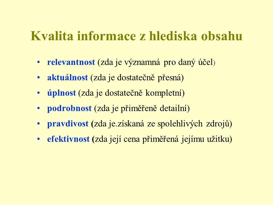 Kvalita informace z hlediska obsahu •relevantnost (zda je významná pro daný účel ) •aktuálnost (zda je dostatečně přesná) •úplnost (zda je dostatečně kompletní) •podrobnost (zda je přiměřeně detailní) •pravdivost (zda je.získaná ze spolehlivých zdrojů) •efektivnost (zda její cena přiměřená jejímu užitku)