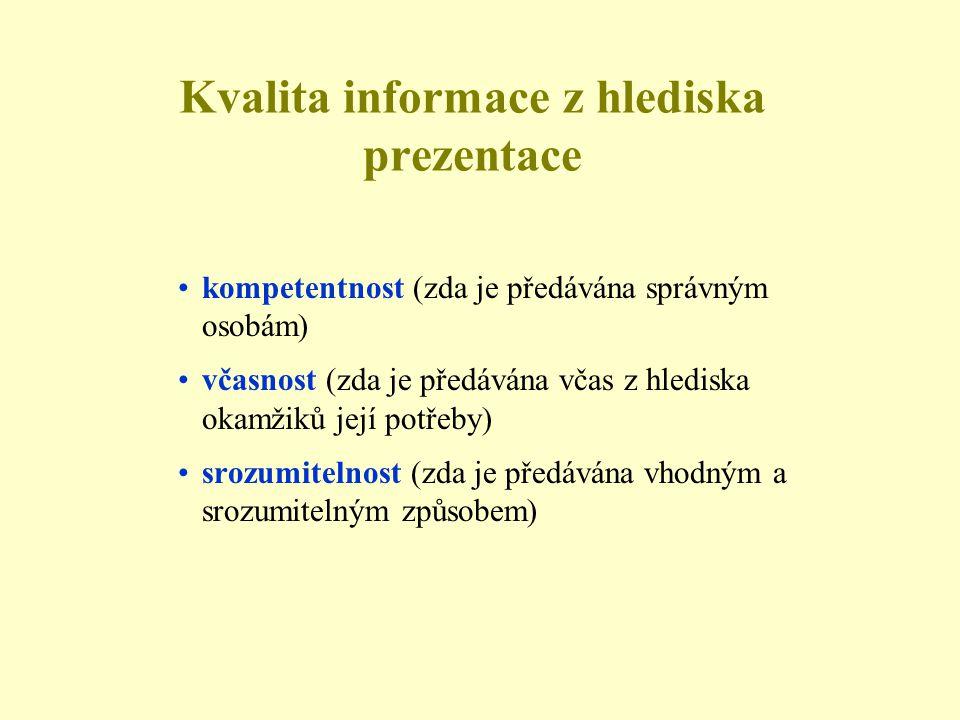 Kvalita informace z hlediska prezentace •kompetentnost (zda je předávána správným osobám) •včasnost (zda je předávána včas z hlediska okamžiků její potřeby) •srozumitelnost (zda je předávána vhodným a srozumitelným způsobem)