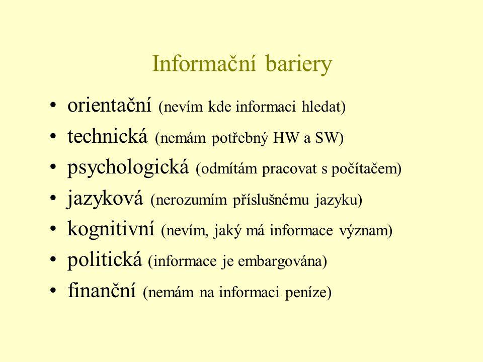 Informační bariery •orientační (nevím kde informaci hledat) •technická (nemám potřebný HW a SW) •psychologická (odmítám pracovat s počítačem) •jazykov