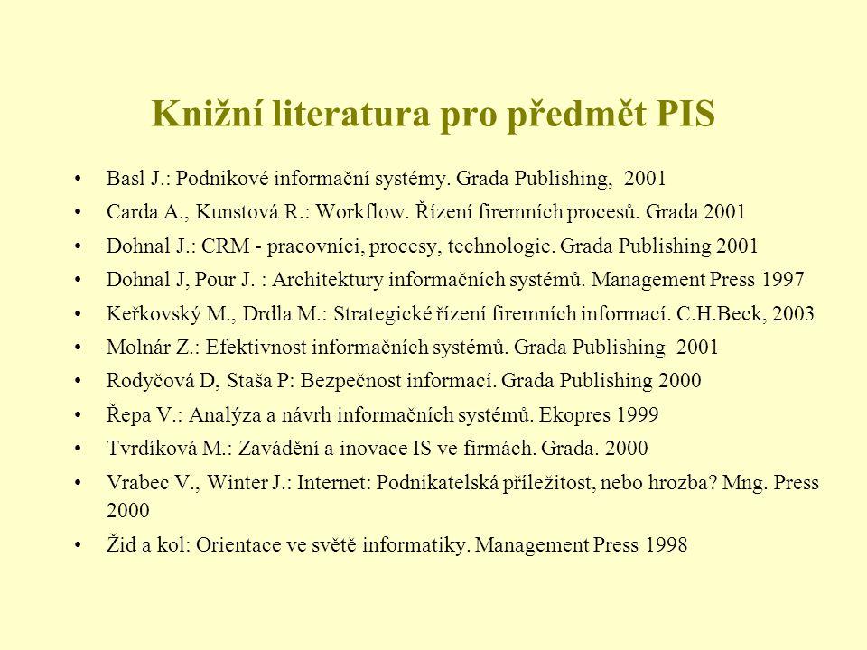 Knižní literatura pro předmět PIS •Basl J.: Podnikové informační systémy. Grada Publishing, 2001 •Carda A., Kunstová R.: Workflow. Řízení firemních pr