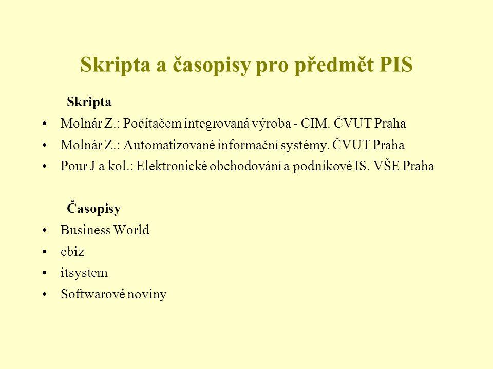 Skripta a časopisy pro předmět PIS Skripta •Molnár Z.: Počítačem integrovaná výroba - CIM. ČVUT Praha •Molnár Z.: Automatizované informační systémy. Č