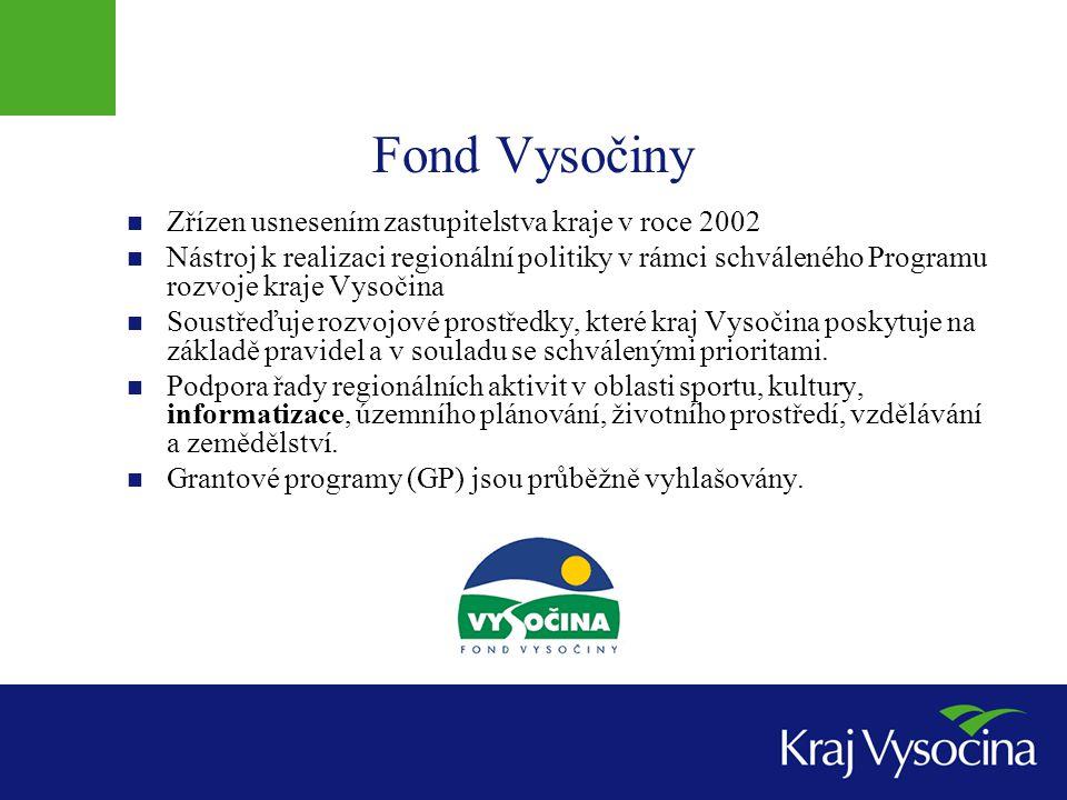 Fond Vysočiny  Zřízen usnesením zastupitelstva kraje v roce 2002  Nástroj k realizaci regionální politiky v rámci schváleného Programu rozvoje kraje Vysočina  Soustřeďuje rozvojové prostředky, které kraj Vysočina poskytuje na základě pravidel a v souladu se schválenými prioritami.