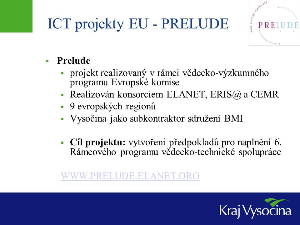 ICT projekty EU - PRELUDE  Prelude  projekt realizovaný v rámci vědecko-výzkumného programu Evropské komise  Realizován konsorciem ELANET, ERIS@ a CEMR  9 evropských regionů  Vysočina jako subkontraktor sdružení BMI  Cíl projektu: vytvoření předpokladů pro naplnění 6.