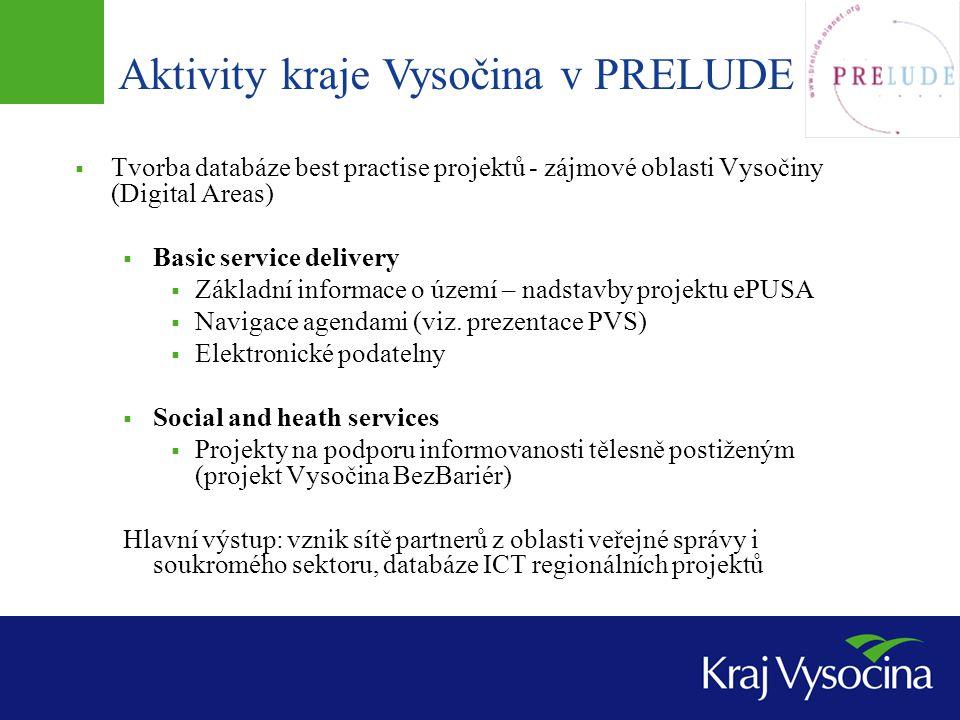 Aktivity kraje Vysočina v PRELUDE  Tvorba databáze best practise projektů - zájmové oblasti Vysočiny (Digital Areas)  Basic service delivery  Základní informace o území – nadstavby projektu ePUSA  Navigace agendami (viz.