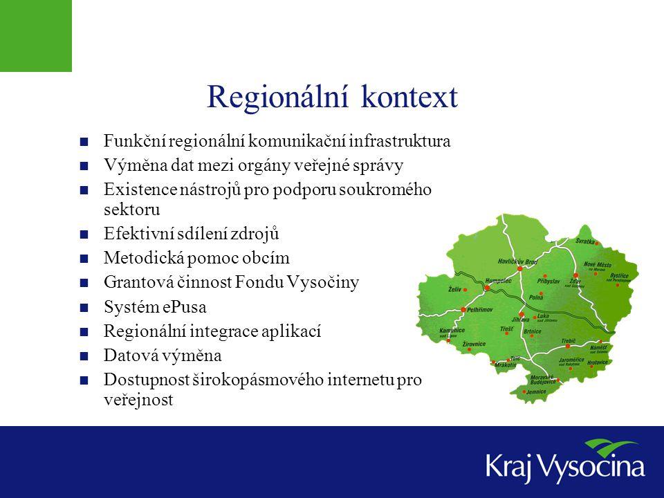 Regionální kontext  Funkční regionální komunikační infrastruktura  Výměna dat mezi orgány veřejné správy  Existence nástrojů pro podporu soukromého sektoru  Efektivní sdílení zdrojů  Metodická pomoc obcím  Grantová činnost Fondu Vysočiny  Systém ePusa  Regionální integrace aplikací  Datová výměna  Dostupnost širokopásmového internetu pro veřejnost