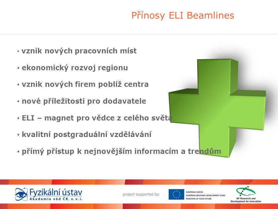 Přínosy ELI Beamlines • vznik nových pracovních míst • ekonomický rozvoj regionu • vznik nových firem poblíž centra • nové příležitosti pro dodavatele • ELI – magnet pro vědce z celého světa • kvalitní postgraduální vzdělávání • přímý přístup k nejnovějším informacím a trendům