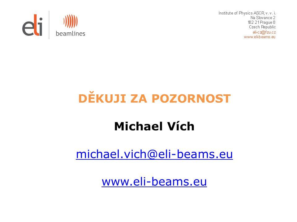 DĚKUJI ZA POZORNOST Michael Vích michael.vich@eli-beams.eu www.eli-beams.eu michael.vich@eli-beams.eu www.eli-beams.eu