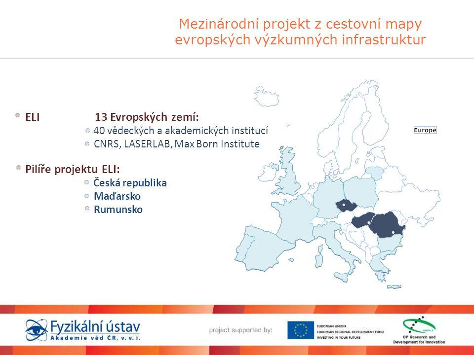 Mezinárodní projekt z cestovní mapy evropských výzkumných infrastruktur ELI 13 Evropských zemí: 40 vědeckých a akademických institucí CNRS, LASERLAB,