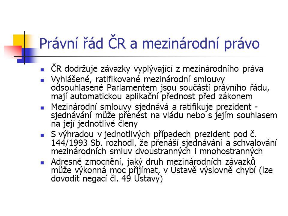 Právní řád ČR a mezinárodní právo  ČR dodržuje závazky vyplývající z mezinárodního práva  Vyhlášené, ratifikované mezinárodní smlouvy odsouhlasené P