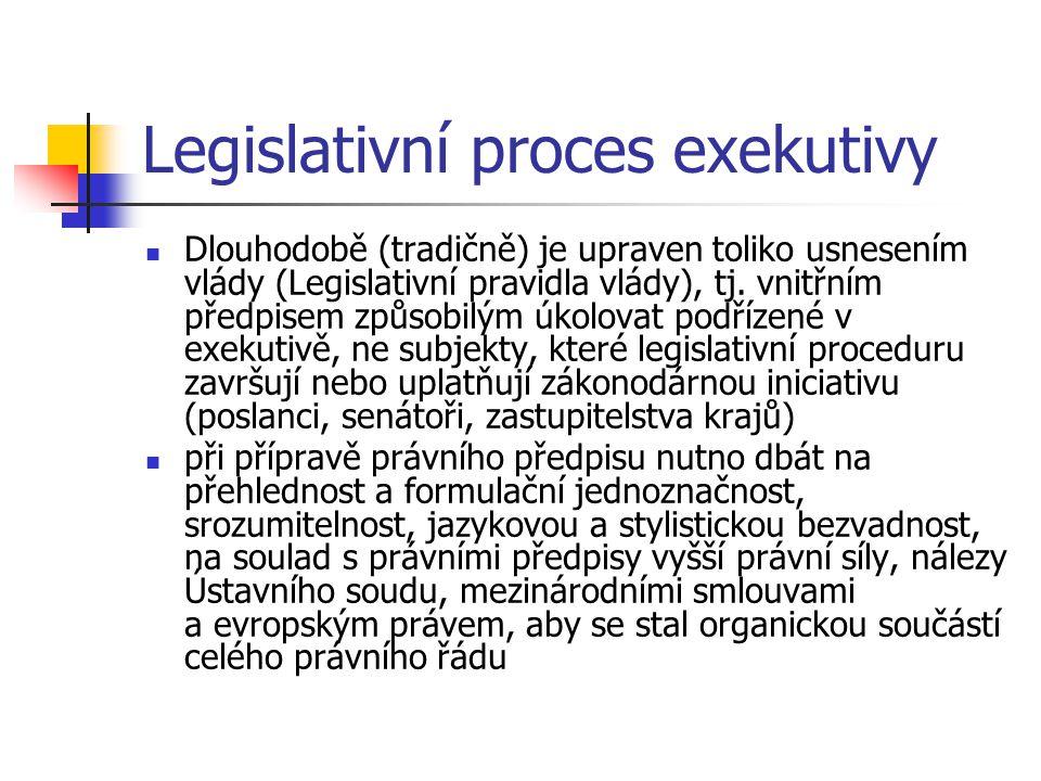 Legislativní proces exekutivy  Dlouhodobě (tradičně) je upraven toliko usnesením vlády (Legislativní pravidla vlády), tj. vnitřním předpisem způsobil