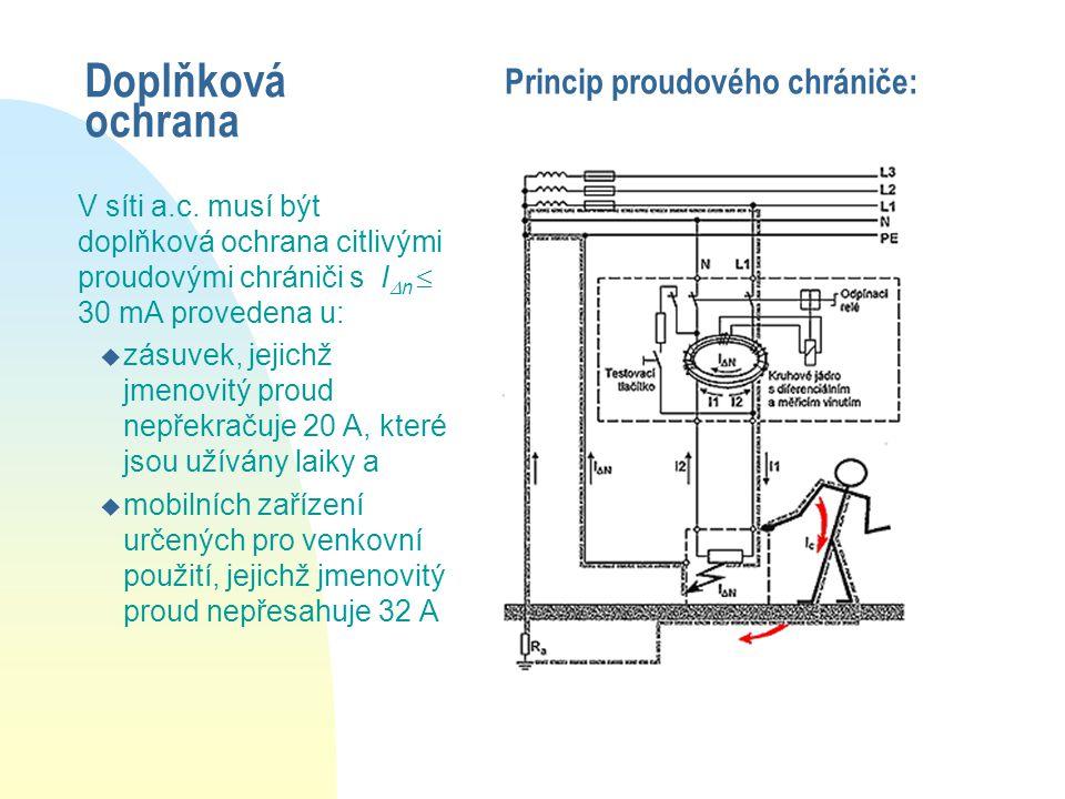 Doplňková ochrana V síti a.c. musí být doplňková ochrana citlivými proudovými chrániči s I  n  30 mA provedena u: u zásuvek, jejichž jmenovitý proud