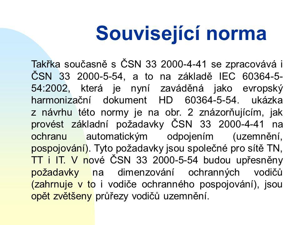 Související norma Takřka současně s ČSN 33 2000-4-41 se zpracovává i ČSN 33 2000-5-54, a to na základě IEC 60364-5- 54:2002, která je nyní zaváděná jako evropský harmonizační dokument HD 60364-5-54.