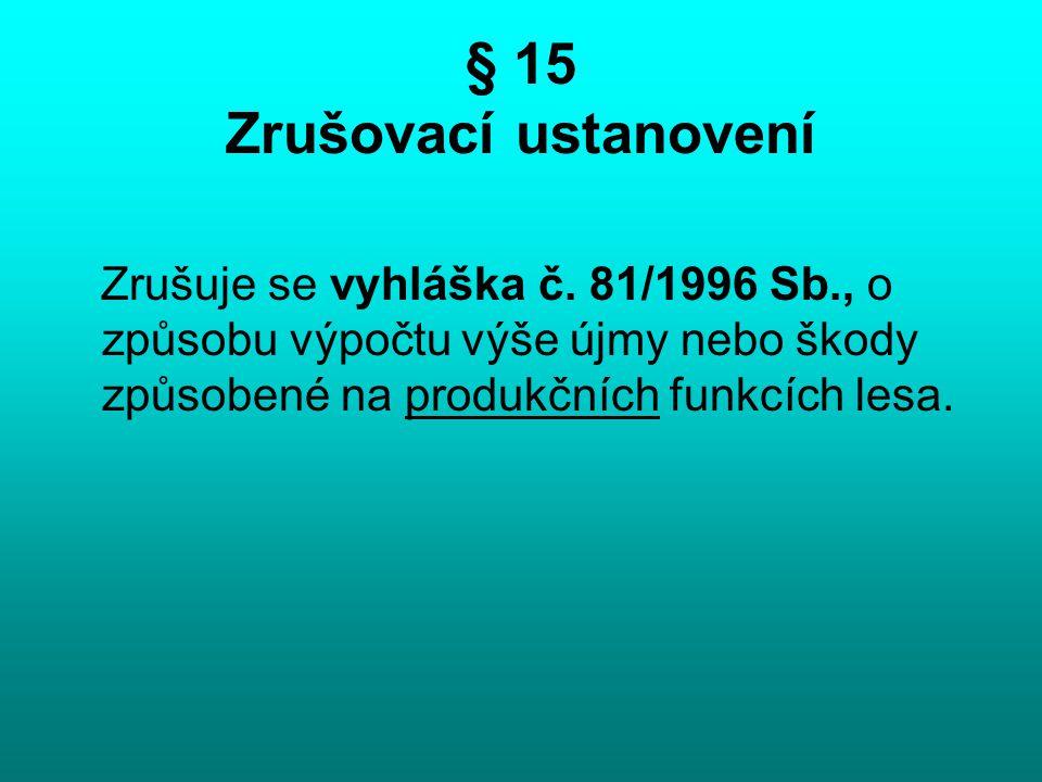 § 15 Zrušovací ustanovení Zrušuje se vyhláška č. 81/1996 Sb., o způsobu výpočtu výše újmy nebo škody způsobené na produkčních funkcích lesa.