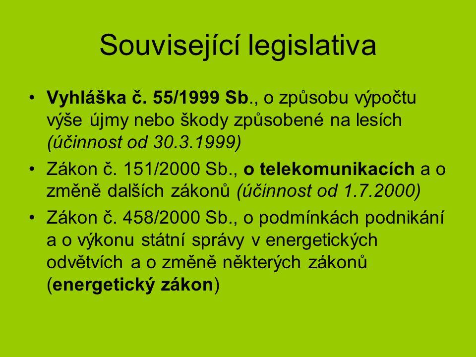 Související legislativa •Vyhláška č. 55/1999 Sb., o způsobu výpočtu výše újmy nebo škody způsobené na lesích (účinnost od 30.3.1999) •Zákon č. 151/200
