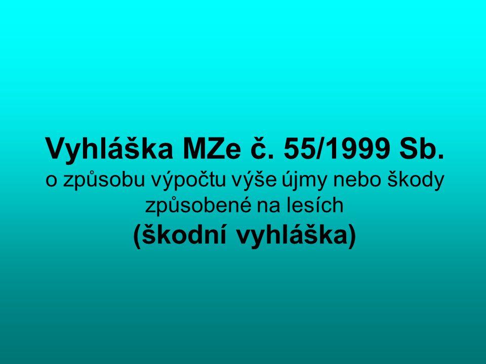 Vyhláška MZe č. 55/1999 Sb. o způsobu výpočtu výše újmy nebo škody způsobené na lesích (škodní vyhláška)