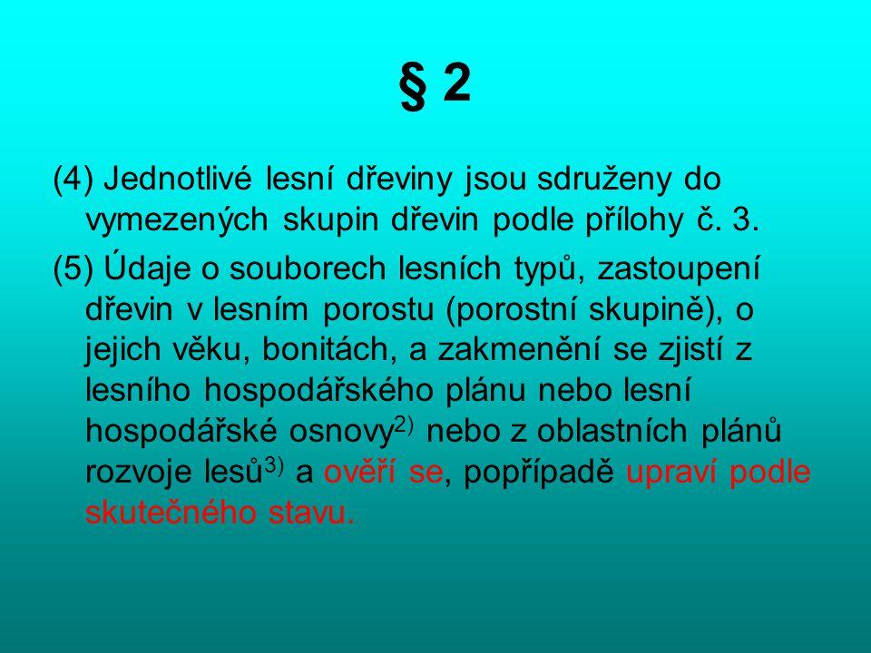 § 2 (4) Jednotlivé lesní dřeviny jsou sdruženy do vymezených skupin dřevin podle přílohy č. 3. (5) Údaje o souborech lesních typů, zastoupení dřevin v
