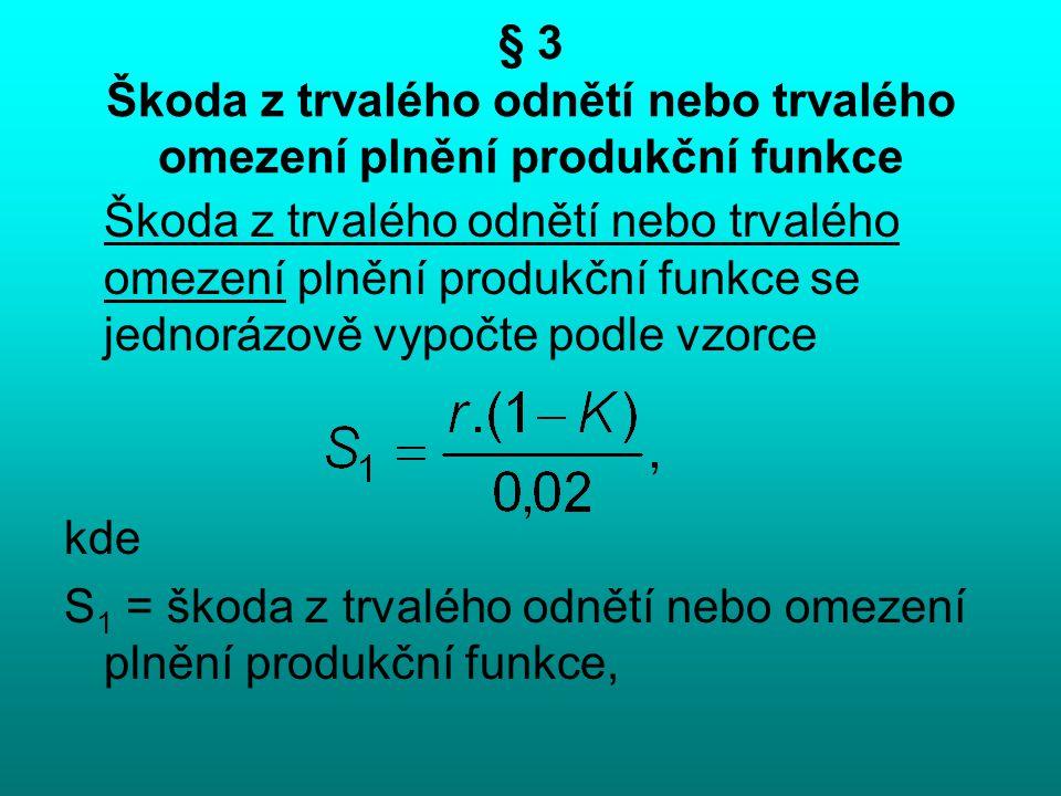 § 3 Škoda z trvalého odnětí nebo trvalého omezení plnění produkční funkce Škoda z trvalého odnětí nebo trvalého omezení plnění produkční funkce se jed