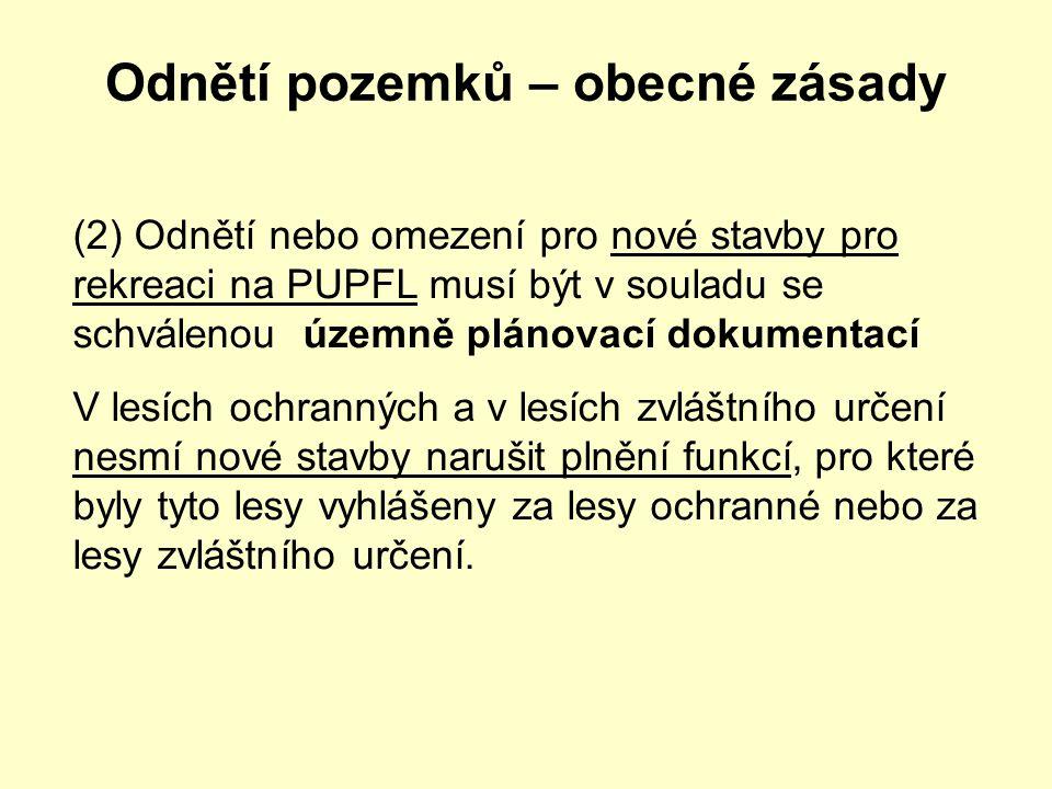 Odnětí pozemků – obecné zásady (2) Odnětí nebo omezení pro nové stavby pro rekreaci na PUPFL musí být v souladu se schválenou územně plánovací dokumen