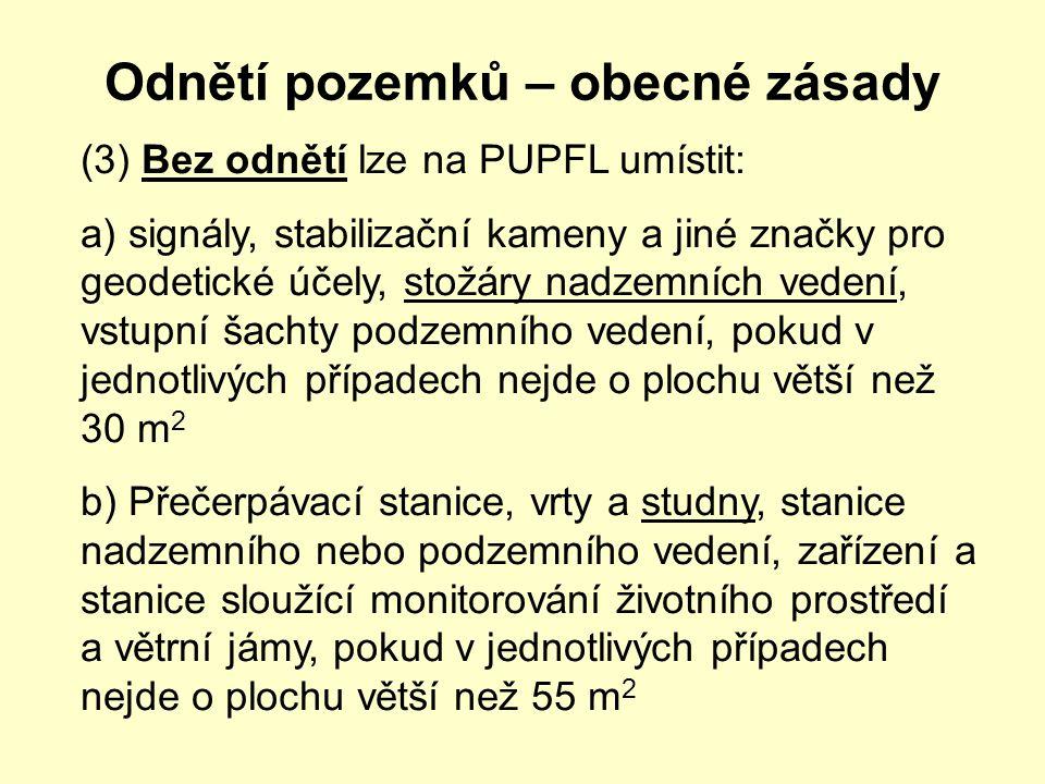 Odnětí pozemků – obecné zásady (3) Bez odnětí lze na PUPFL umístit: a) signály, stabilizační kameny a jiné značky pro geodetické účely, stožáry nadzem