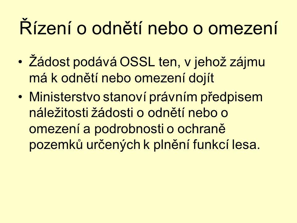 Řízení o odnětí nebo o omezení •Žádost podává OSSL ten, v jehož zájmu má k odnětí nebo omezení dojít •Ministerstvo stanoví právním předpisem náležitos