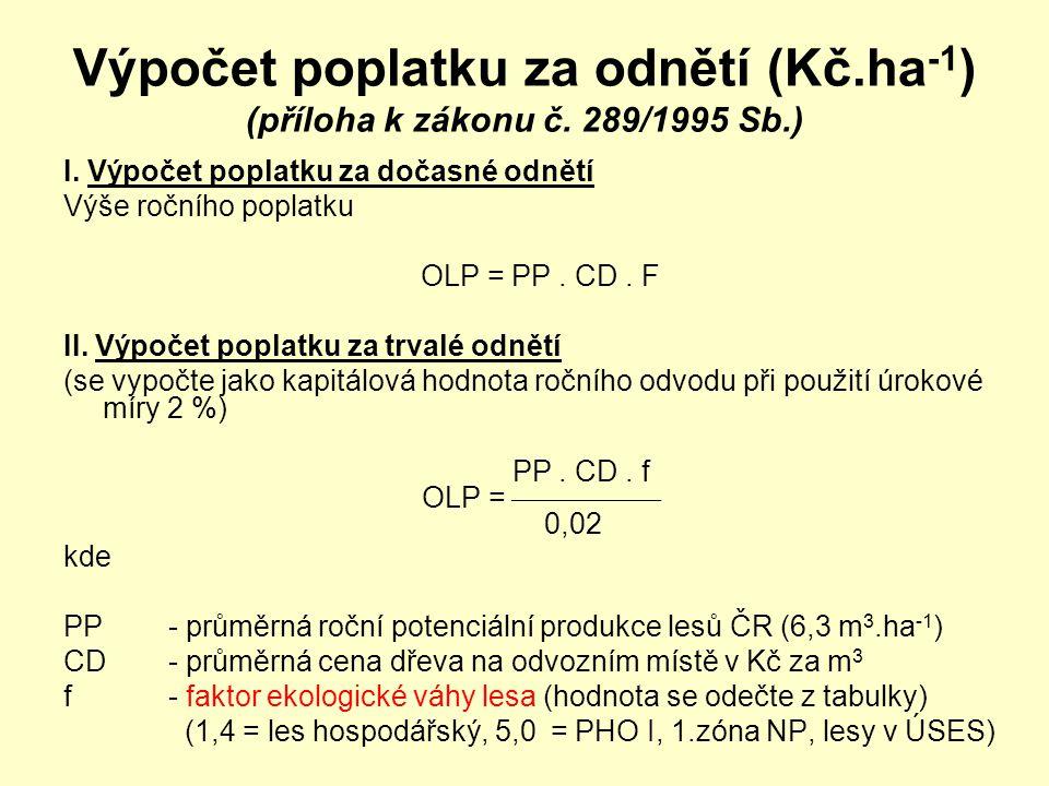 Výpočet poplatku za odnětí (Kč.ha -1 ) (příloha k zákonu č. 289/1995 Sb.) I. Výpočet poplatku za dočasné odnětí Výše ročního poplatku OLP = PP. CD. F